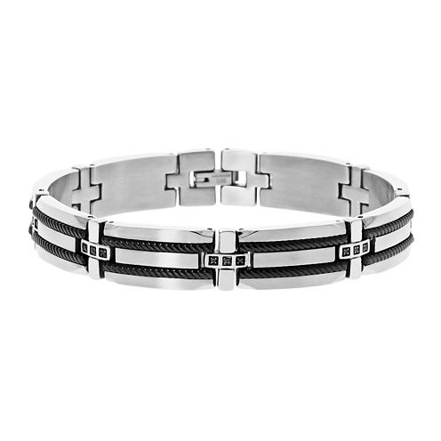 Mens 1/7 CT. T.W. Black Diamond Stainless Steel & Black IP Bracelet