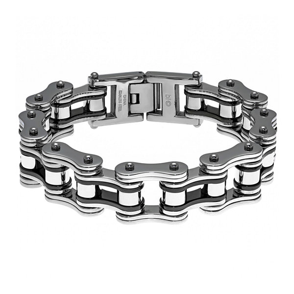 Mens Stainless Steel & Black IP Motorcycle Bracelet