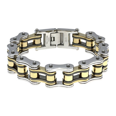 Mens Stainless Steel with Black & Gold-Tone IP Motorcycle Bracelet