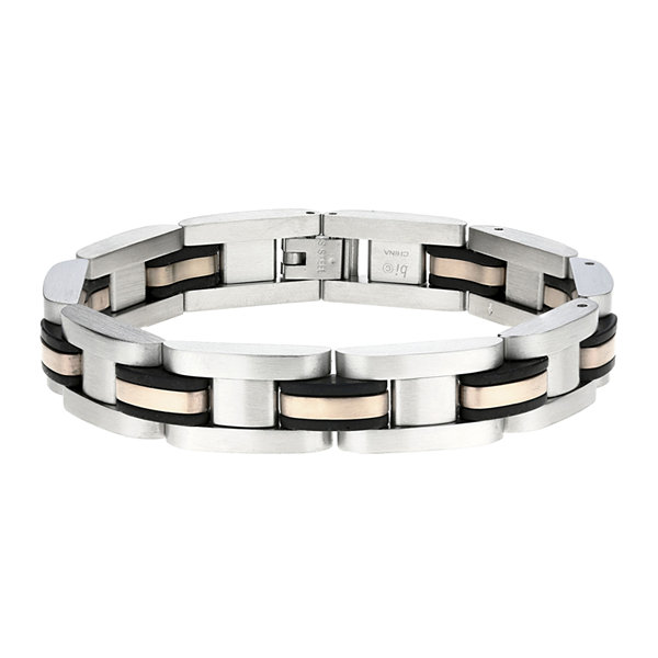Mens Stainless Steel Rose-Tone IP & Rubber Link Bracelet