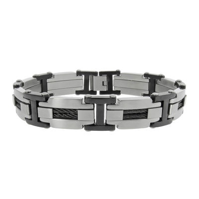 Mens Stainless Steel & Black IP Cable Link Bracelet