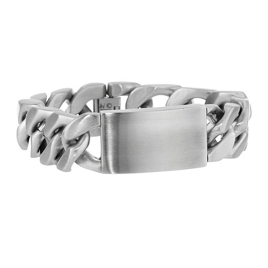 Mens Stainless Steel Wide ID Curb Bracelet