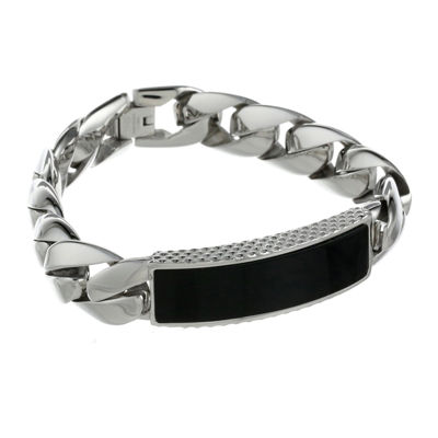 Mens Stainless Steel & Black Onyx ID Curb Bracelet