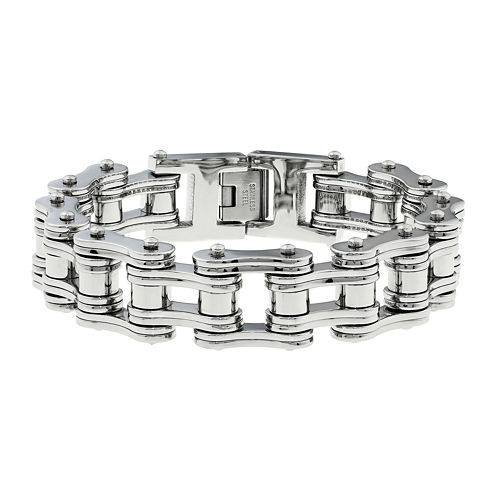 Mens Stainless Steel Motorcycle Bracelet