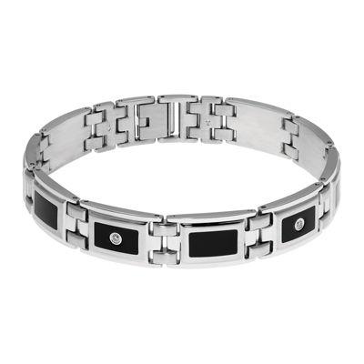 Mens 1/8 CT. T.W. Diamond Stainless Steel & Resin Link Bracelet