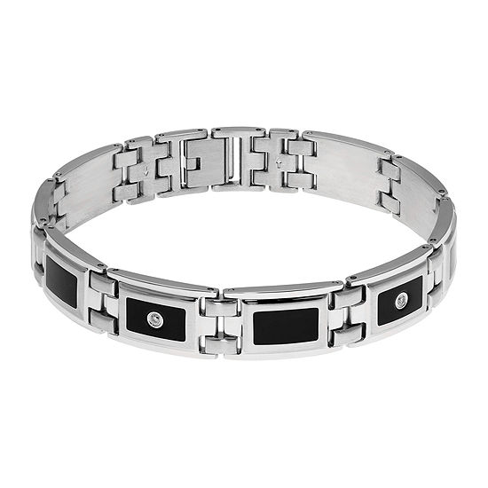 Mens 1 8 Ct Tw Diamond Stainless Steel Resin Link Bracelet