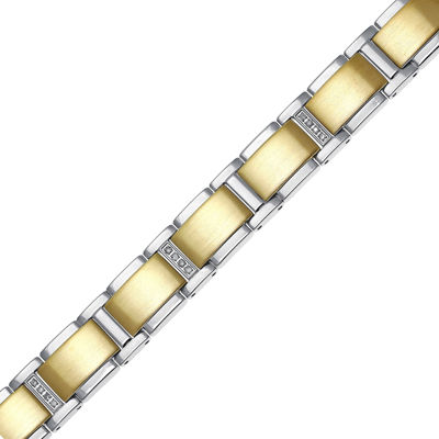 Mens 1/7 CT. T.W. Diamond Stainless Steel Gold-Tone IP Link Bracelet