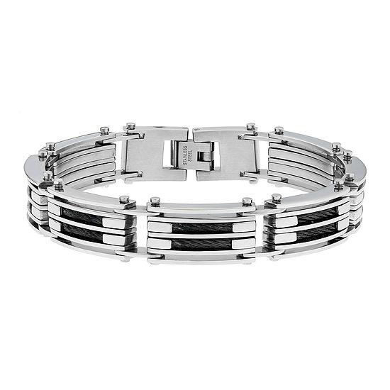 Mens Stainless Steel & Black IP Cable Link Bracelet