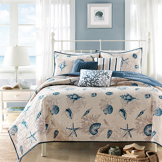 Madison Park Nantucket Coastal Quilted Coverlet Set