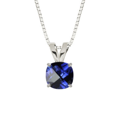 Lab-Created Checkerboard Cut Blue Sapphire 10K White Gold Pendant Necklace