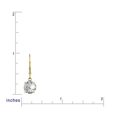 Genuine White Topaz 10k Yellow Gold Leverback Dangle Earrings