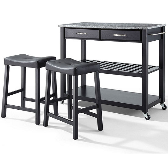 Geary 3-pc. Granite-Top Kitchen Island with 2 Upholstered Stools