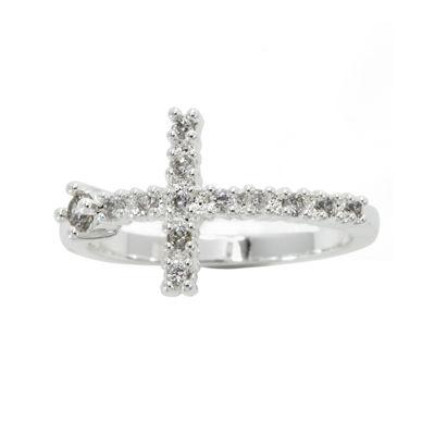 Sparkle Allure White Crossover Ring