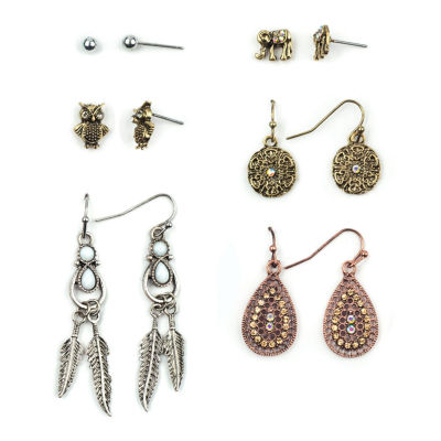 Arizona 6-pr. Tri-Tone Earring Set