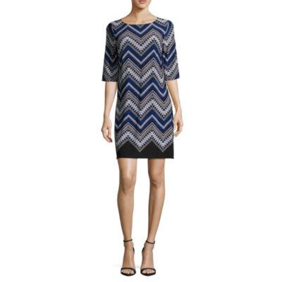 Studio 1 Elbow Sleeve Knit Shift Dress-Petites