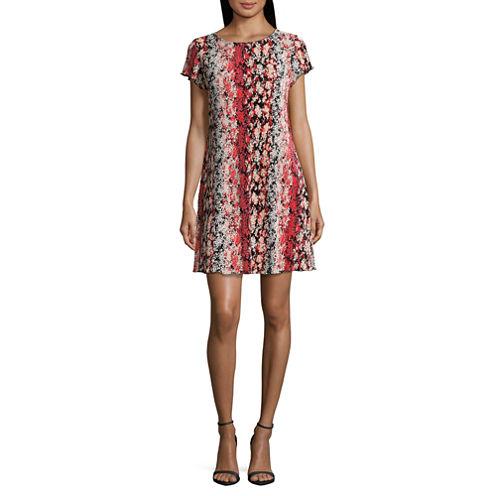Tiana B Short Sleeve Trapeze Dress-Petites