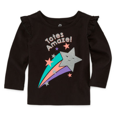 Okie Dokie Long Sleeve Graphic T-Shirt-Baby Girl NB-24M