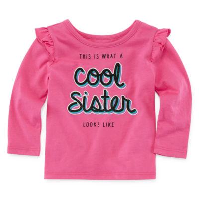 Okie Dokie Long Sleeve Graphic T-Shirt-Baby Girl NB-24M