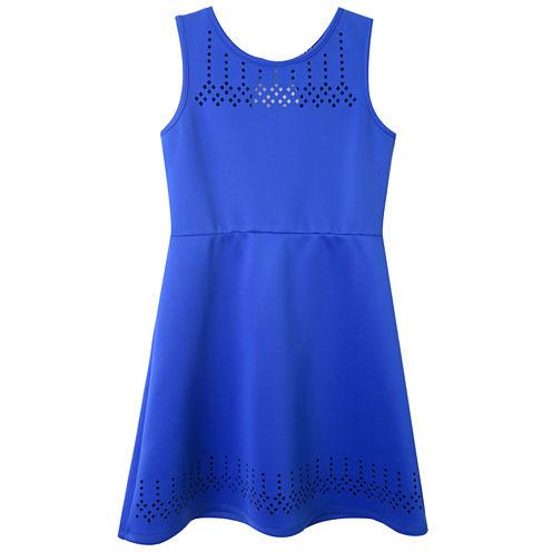 Lilt Blue Sleeveless Scuba Skater Dress - Girls' 7-16
