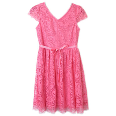 Lilt Short Sleeve Pink Lace Skater Dress - Girls' 7-16