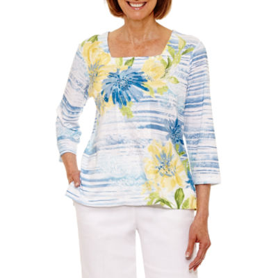 Alfred Dunner Blue Lagoon 3/4 Sleeve Floral Stripe T-Shirt-Petites