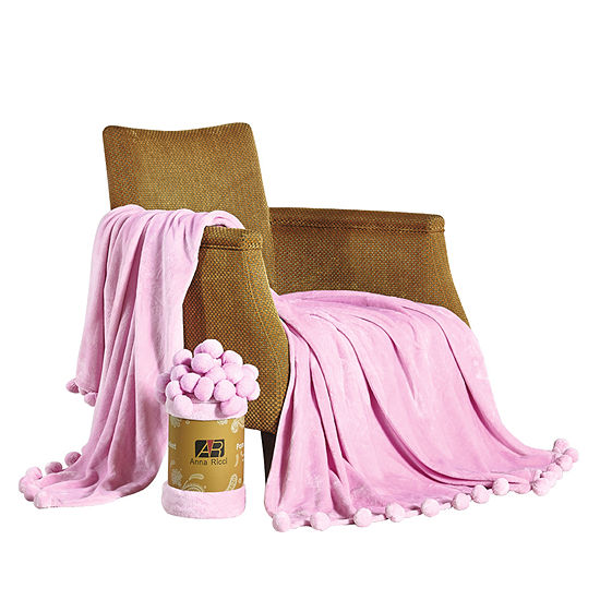 Orient Home Collection Pom Pom Plush Midweight Blanket
