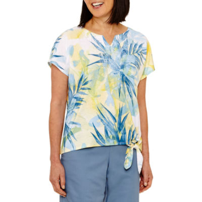 Alfred Dunner Blue Lagoon Short Sleeve V Neck Floral T-Shirt-Womens