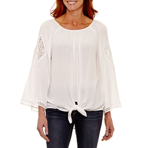 Lark Lane 3/4 Sleeve Scoop Neck Crepe Blouse
