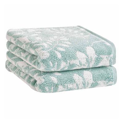 Loft By Loftex Floral Block Jacquard 2-Pc. Hand Towel Set