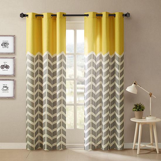 Intelligent Design Rayna Chevron Grommet-Top Curtain Panels (Set of 2)