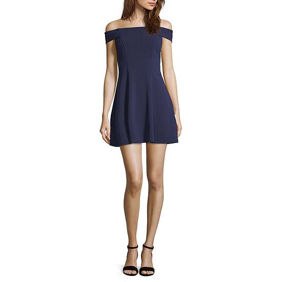 Social Code Short Sleeve Party Dress-Juniors