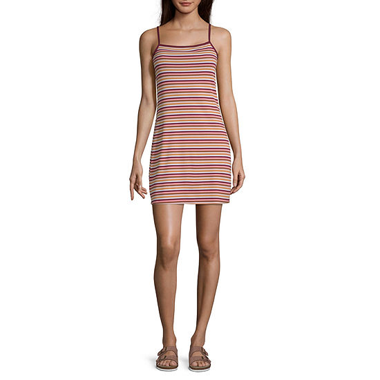 Arizona Sleeveless Striped Fit Flare Dress Juniors