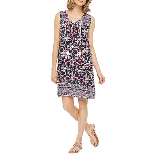St. John's Bay Sleeveless Bordered Shift Dress