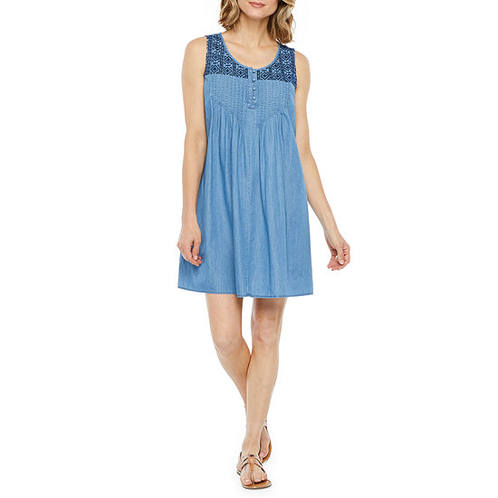 St. John's Bay Sleeveless Embroidered Shift Dress