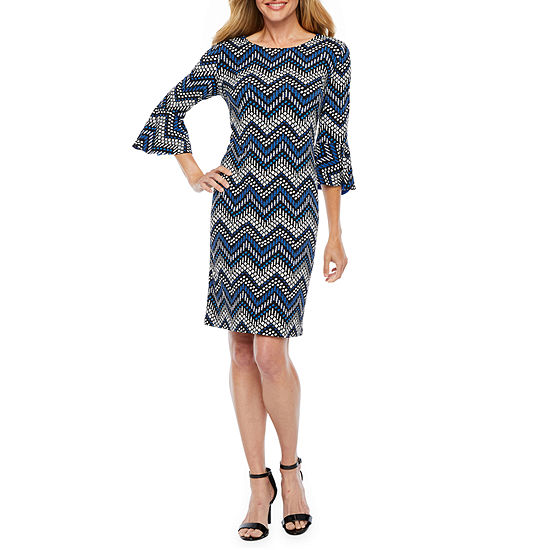 R & K Originals 3/4 Bell Sleeve Chevron Puff Print Shift Dress