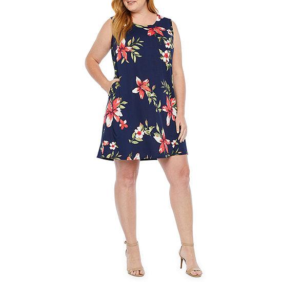 Alyx Sleeveless Floral Shift Dress-Plus