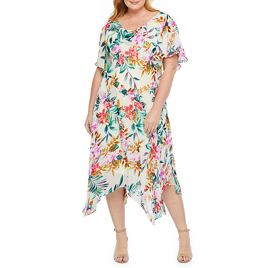 Robbie Bee Short Sleeve Floral Shift Dress-Plus