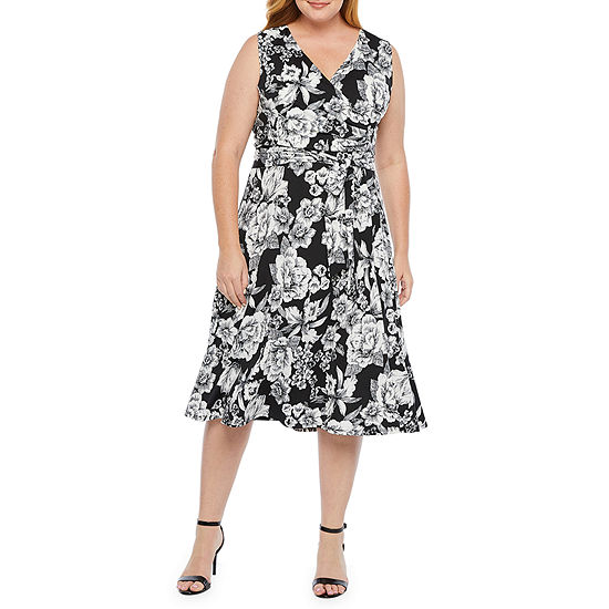 Tiana B Sleeveless Floral Wrap Dress-Plus