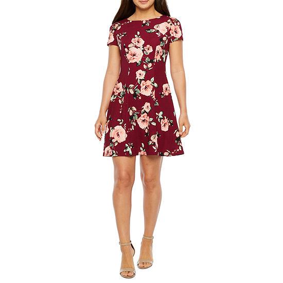 Alyx Short Sleeve Floral A-Line Dress-Petite