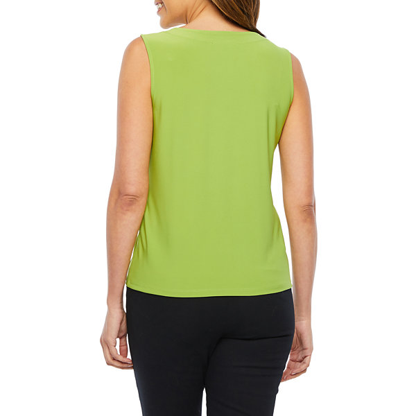 Black Label by Evan-Picone Womens Sleeveless Crew Neck Blouse