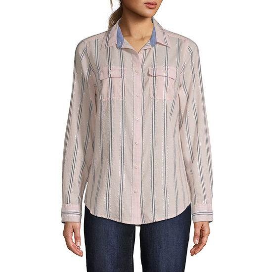 St Johns Bay Long Sleeve Classic Shirt Tall