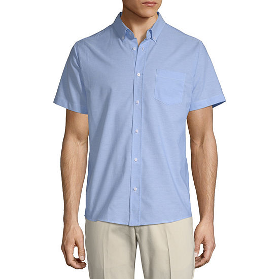 IZOD Young Mens Short Sleeve Button-Front Shirt