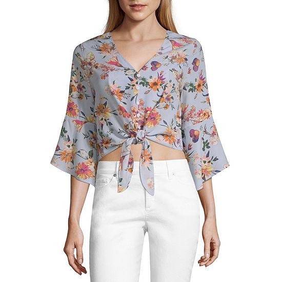 Mi Ami 3/4 Sleeve Loose Fit Faux Button-Front Shirt-Juniors