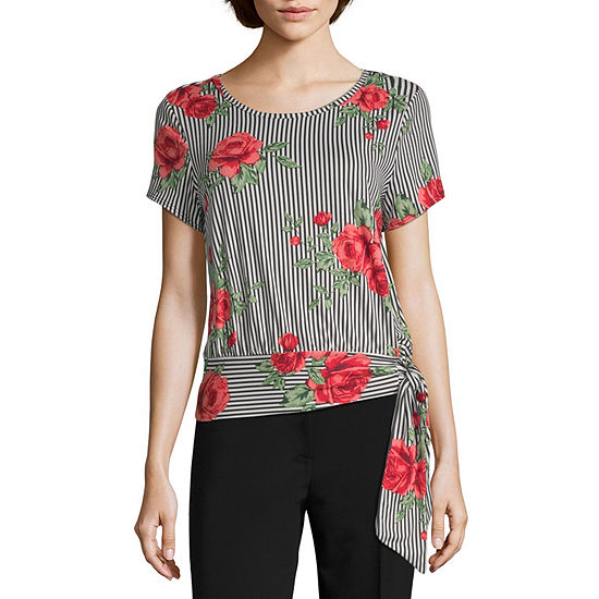 by&by Womens Scoop Neck Short Sleeve Knit Blouse-Juniors