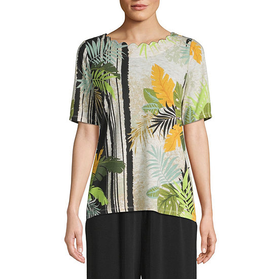 east 5th Womens Scallop Neck Short Sleeve Slubbed Blouse