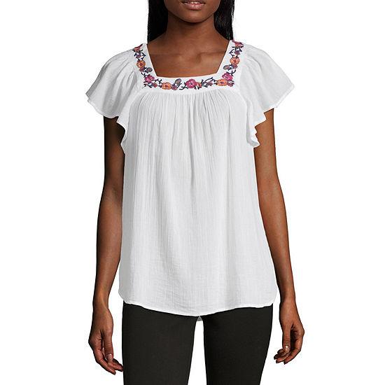 Liz Claiborne Womens Square Neck Short Sleeve Blouse