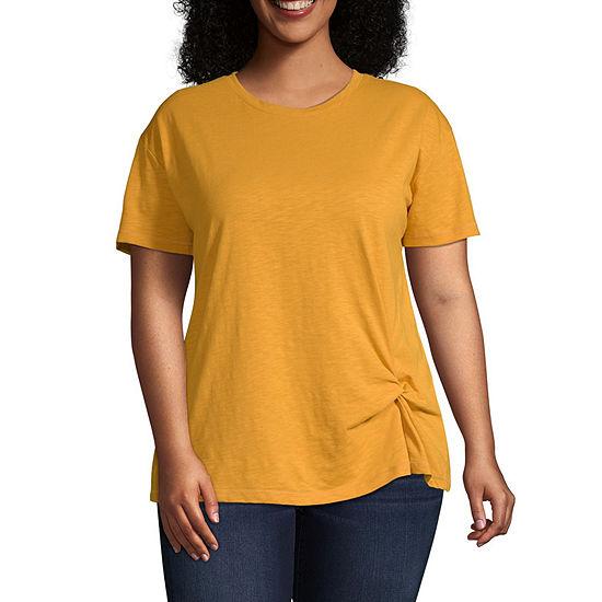 St. John's Bay Active Plus-Womens Round Neck Short Sleeve T-Shirt