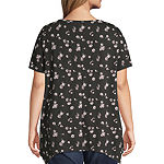 All @ Once-Womens V Neck Short Sleeve T-Shirt Plus