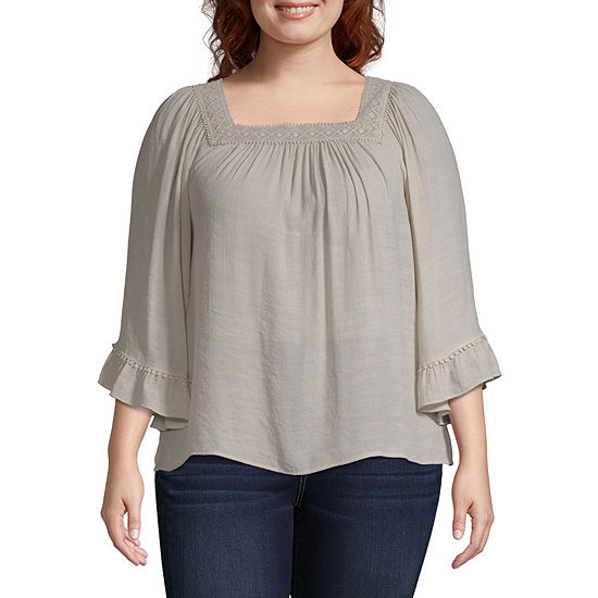 Zac And Rachel-Plus Womens Square Neck 3/4 Sleeve Blouse