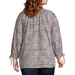 Zac And Rachel Womens Y Neck 3/4 Sleeve Blouse-Plus